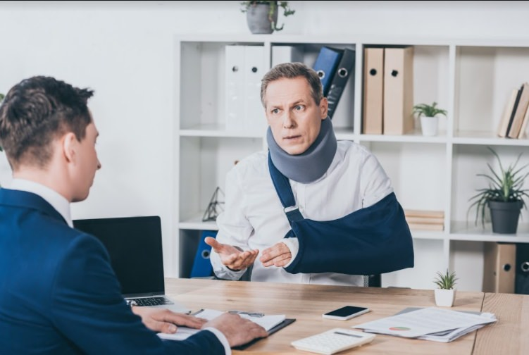 discussion about workplace injury at lawyer